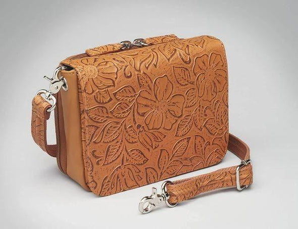 Conceal Carry Purse GTM-15 Cross Body Organizer by Gun Tote'n Mamas in leather colors of Tan Tooled.