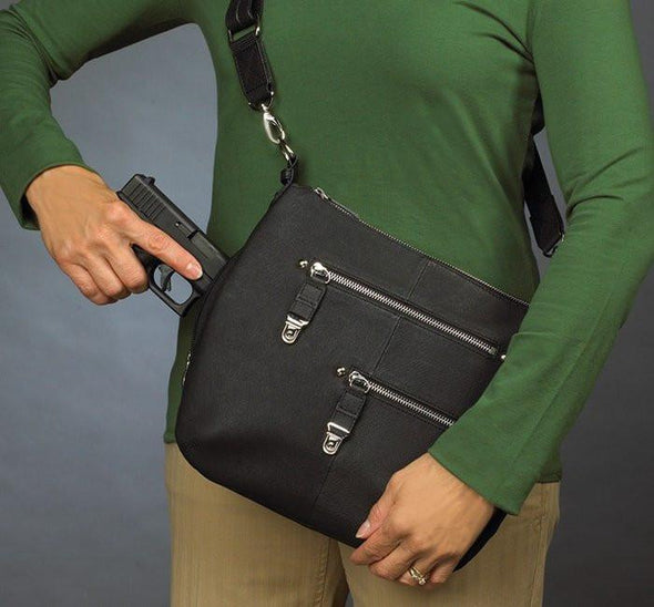 Conceal Carry Purse GTM-23 Chrome Zip Handbag in soft black leather by Gun Tote'n Mamas.
