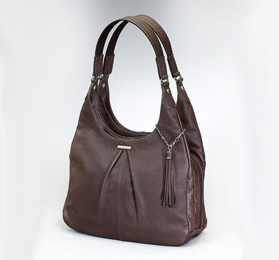 Conceal Carry Purse GTM-32 Pleated Slouch by Gun Tote'n Mamas in soft brown leather.