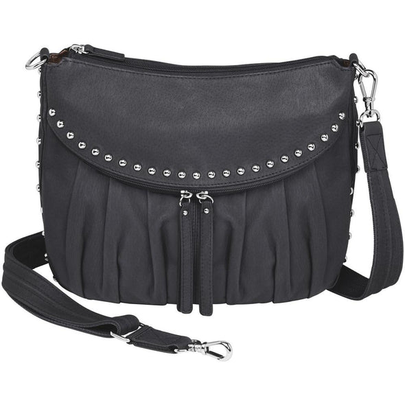 Conceal Carry Purse GTM-50 Uptown in soft black leather by Gun Tote'n Mamas.