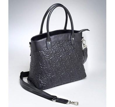 Conceal Cary Purse GTM-61 New Zealand Lambskin Toteby Gun Tote'n Mamas in black soft leather with embroidered roses.