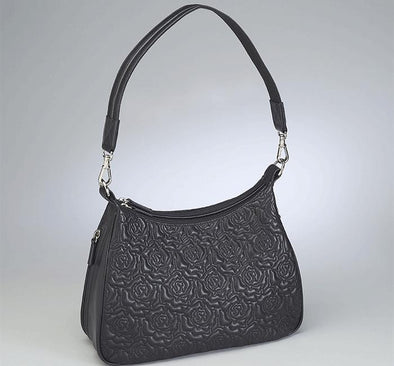 Conceal Carry Purse GTM-71 Embroidered Black Lambskin Basic Hobo by Gun Tote'n Mamas.