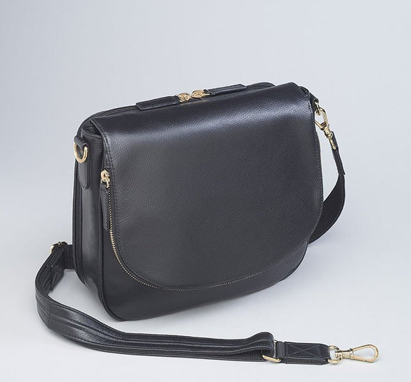 Conceal Carry Purse GTM-88 Drop-Front Black Leather Handbag by Gun Tote'n Mamas.