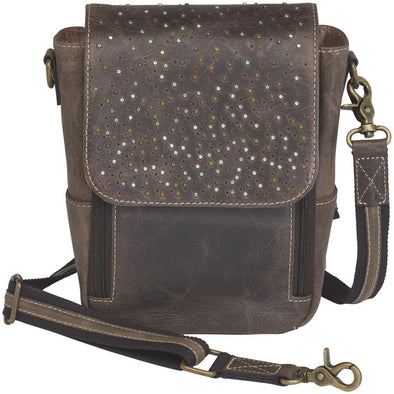 Conceal Carry Purse Distressed Leather Cross Body Satchel GTM/CZY-80 by Gun Tote'n Mamas in distressed brown buffalo leather.