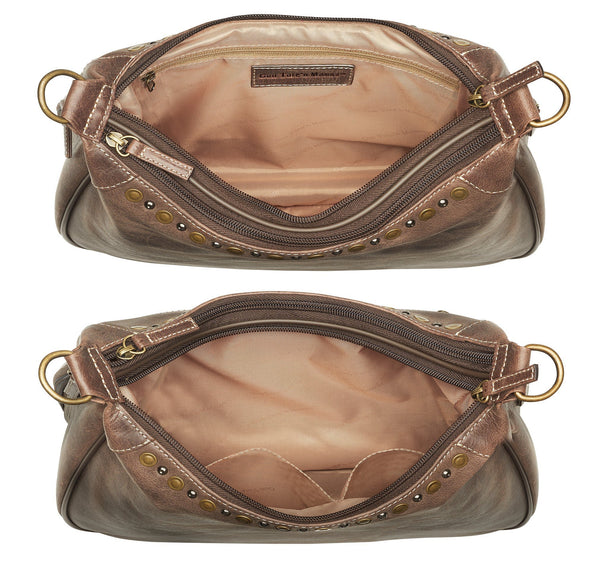 Conceal Carry Purse Distressed Leather RFID Hobo Purse GTM/CZY-70 by Gun Tote'n Mamas.