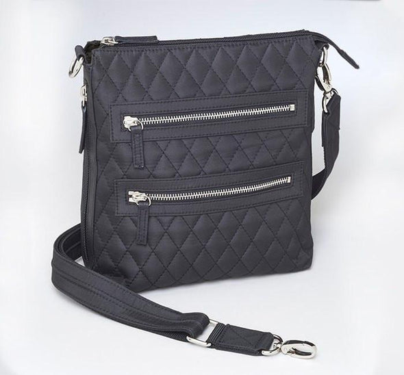 Conceal Carry Purse GTM/QMF-20 Black Cross Body Quilted Sac by Gun Tote'n Mamas.