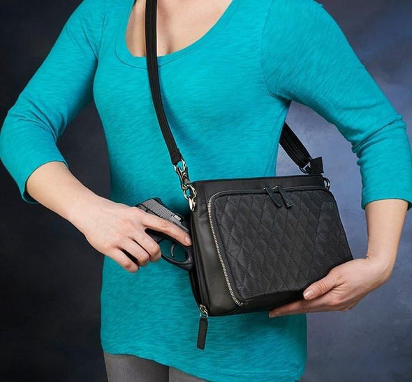 Conceal Carry Purse GTM/QMF-22 Black Quilted Shoulder Clutch by Gun Tote'n Mamas.