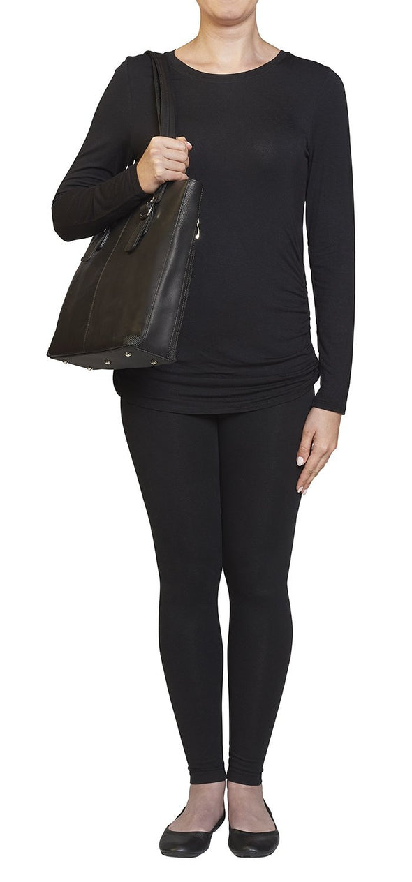 GTM-1018 Shoulder Portfolio Conceal Cary Purse by Gun Tote'n Mamas in black soft leather.