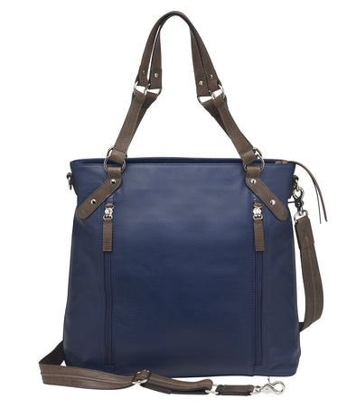 Conceal Carry Purse Gypsy Big RIFD Tote Indigo American Cowhide GTM-102/INDIGO by Gun Tote'n Mamas in blue and brown leather.