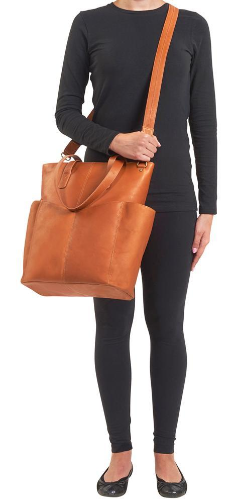 Conceal Carry Purse Oversized Leather RFID Travel Tote GTM-107  by Gun Tote'n Mamas in soft tan leather.