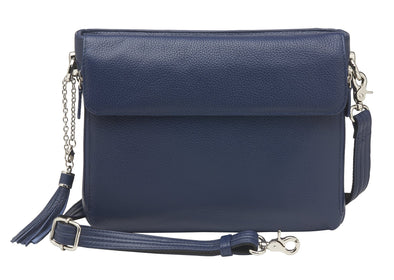 Conceal Carry Purse American Cowhide RFID X-Body Clutch/Purse GTM-22/Indigo by Gun Tote'n Mamas in blue leather.
