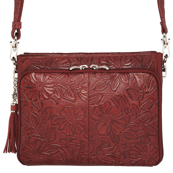 Black Cherry Red GTM-22 Tooled Leather Conceal Carry Purse by Gun Tote'n Mamas Back