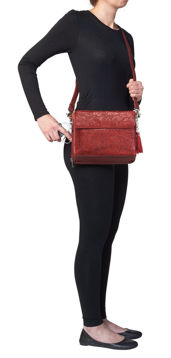 Black Cherry Red GTM-22 Tooled Leather Conceal Carry Purse by Gun Tote'n Mamas Side2