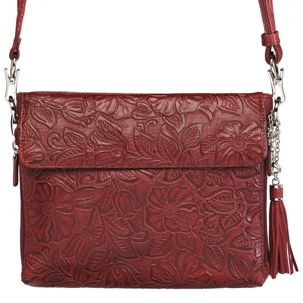 Black Cherry Red GTM-22 Tooled Leather Conceal Carry Purse by Gun Tote'n Mamas Front