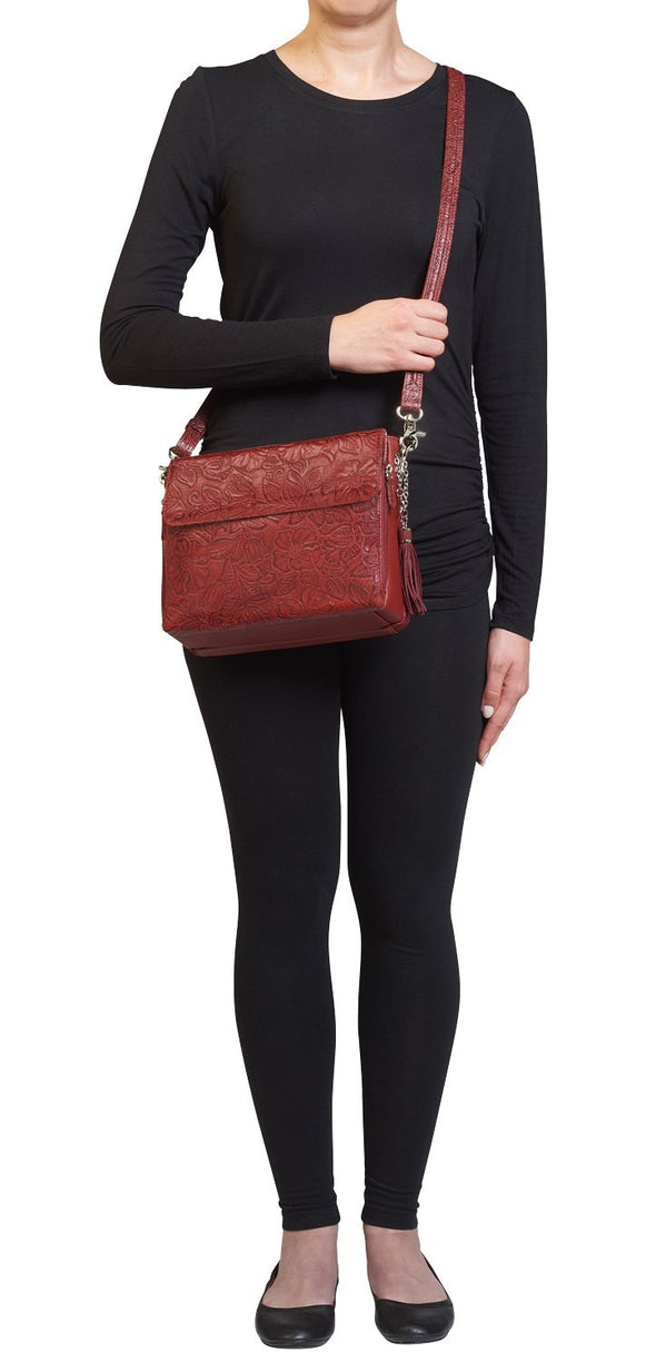 Black Cherry Red GTM-22 Tooled Leather Conceal Carry Purse by Gun Tote'n Mamas Front2