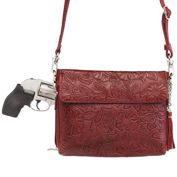 Black Cherry Red GTM-22 Tooled Leather Gun Conceal Carry Purse by Gun Tote'n Mamas Holster