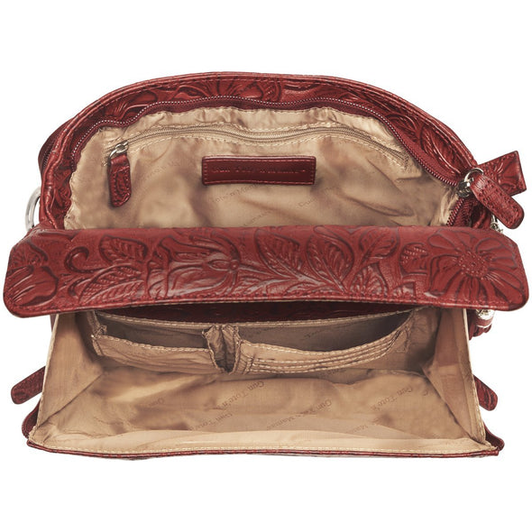 Black Cherry Red GTM-22 Conceal Carry Purse by Gun Tote'n Mamas Inside