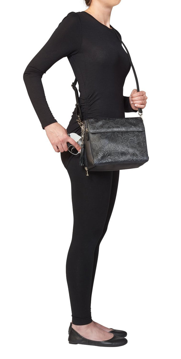 Black GTM-22 Tooled Leather Conceal Carry Purse by Gun Tote'n Mamas Gun on Side