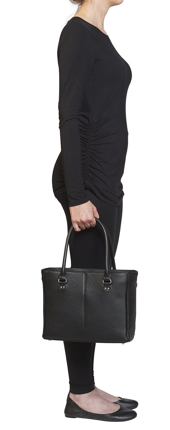 Conceal Carry Purse GTM-62 Traditional Open Top Tote by Gun Tote'n Mamas in black soft leather.