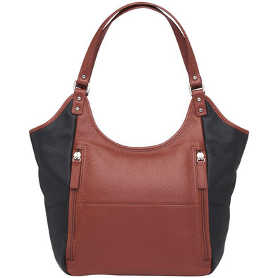 Conceal Carry Purse GTM-96 Cinnamon & Black Tote by Gun Tote'n Mamas in soft cinnamon and black leather.
