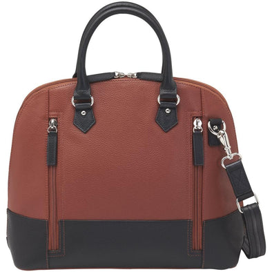 Conceal Carry Purse GTM-97 Cinnamon & Black Bowler by Gun Tote'n Mamas in cinnamon and black leather.