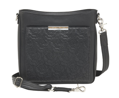 Conceal Carry Purse Embroidered Lambskin Slim X-Body RFID Purse GTM-98LMB by Gun Tote'n Mamas in soft black leather with floral embroderies.