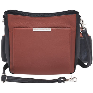 Conceal Carry Purse GTM-98 Cinnamon & Black Slim Cross Body by Gun Tote'n Mamas in soft cinnanom and black leather.