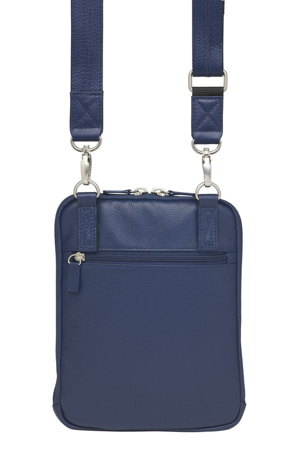 Conceal Carry Purse AAmerican Cowhide X-Body RFID Shoulder Pouch GTM-99/Indigo by Gun Tote'n Mamas in blue leather.