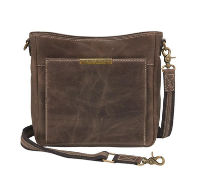 Conceal Carry Purse Distressed Leather Slim X-Body RFID Purse GTM/CZY-98 by Gun Tote'n Mamas.