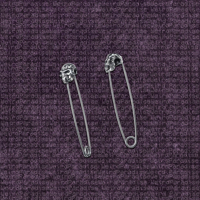 Safety Pin Skull Earrings