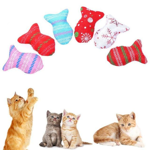 6Pcs/lot Cute Cat Cloth Fish Toy Candy Color Pet Interactive Toys for Cat Kitten Playing Toy Pet Cat Products