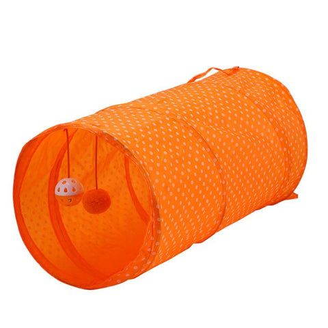 Pet Cat Tunnel Cat Toy Tube Shape Dots Printed Polyester Foldable Hanging Balls Pet Play Educational Supplies