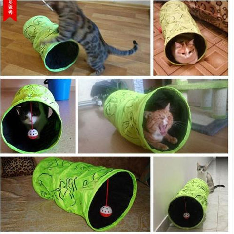 Pet Cat Tunnel Folded Indoor Outdoor Pet Cats Training Toy Kitten Rabbit Tunnel Toy With Ball Funny Cat Tunnel House Toys