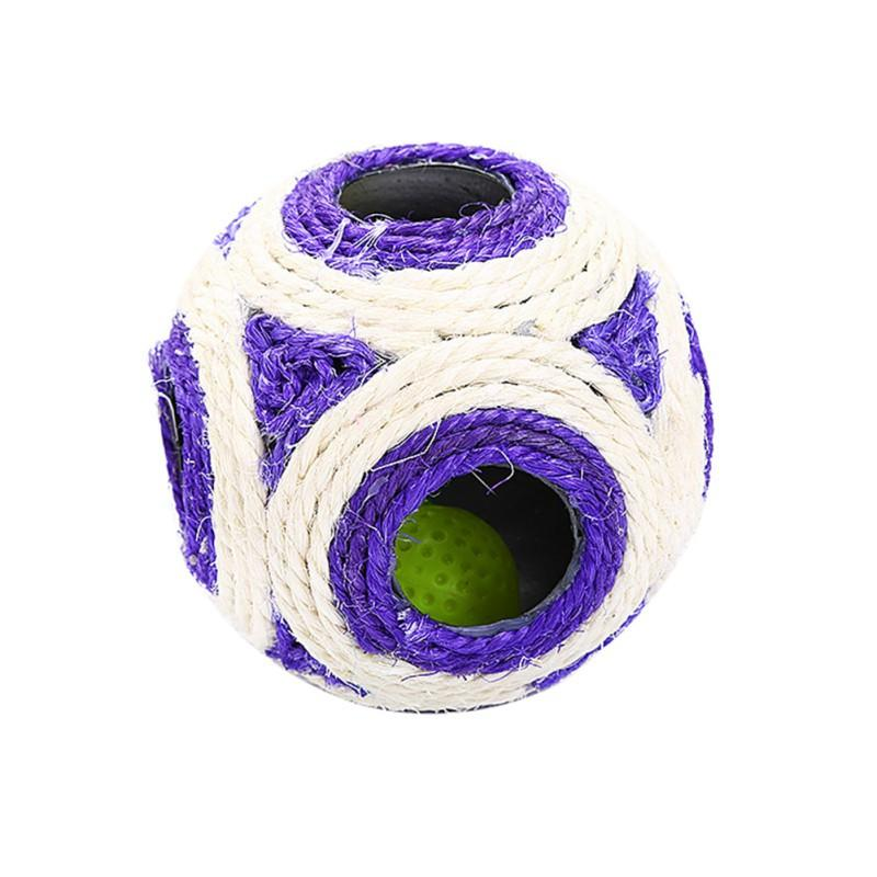 Spherical Cat Toy Knit Ball Natural Open Six-hole Ball Pet Cat Molar Bites Wear sisal Ball  Pet Toy