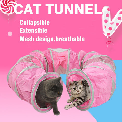 Pet Cat Tunnel Tubes Crinkle Toys Kitten Cat Rabbit Collapsible Fun Toy Tunnels