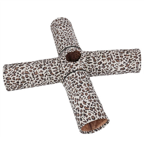 Pet Cat Tunnel Toys Foldable 4 Holes Play For Cat Multifunctional Long Tunnel Printed Leopard-stripe