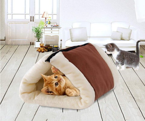 Tube Cat Mat and Bed Cat Tunnel Bed Mat Tube Indoor Cushion Mat Puppy Warm Tube sleeping Bed Pet Supplies Accessories (Brown) Supplies
