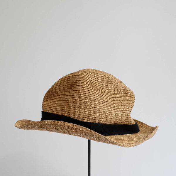 BOXED HAT by mature ha. 5.5cm brim grosgrain ribbon / MIX BROWN