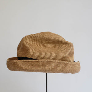BOXED HAT by mature ha. 8cm brim grosgrain ribbon / MIX BROWN