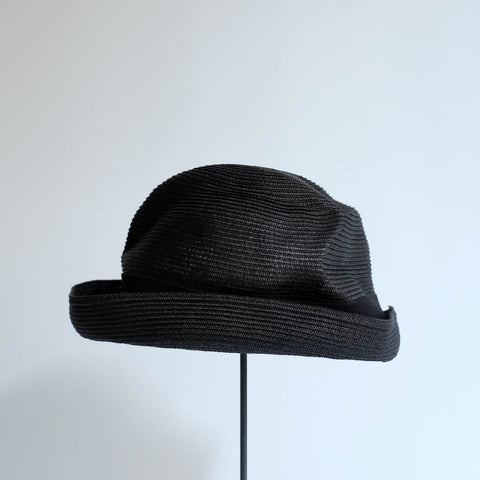 BOXED HAT by mature ha. 8cm brim grosgrain ribbon / BLACK