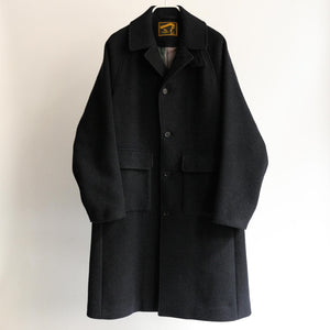 KHONOROGICA by KICS DOCUMENT. WOOL MELTON BAL COLLAR COAT NAVY