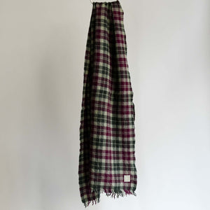 LOCALLY CLASSIC CHECK SCARF BORDEAUX/GREEN