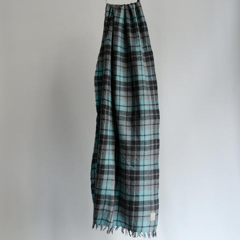 LOCALLY CLASSIC CHECK SCARF SAX/GREY