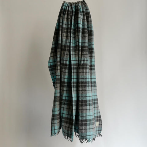 LOCALLY CLASSIC CHECK BIG SCARF SAX/GREY