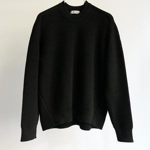 WRAPINKNOT CREW NECK CHUNKY WOOL KNIT BLACK