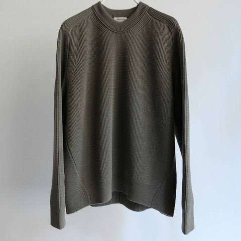 WRAPINKNOT CREW NECK CHUNKY WOOL KNIT GREY