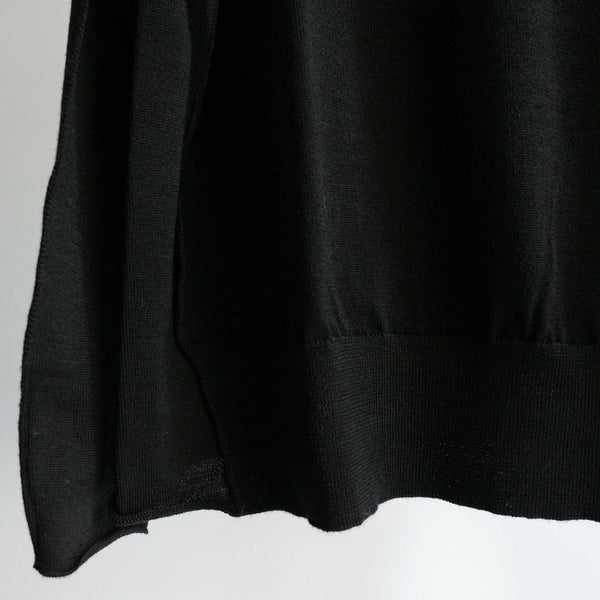 WRAPINKNOT WOOL CREW NECK KNIT BLACK