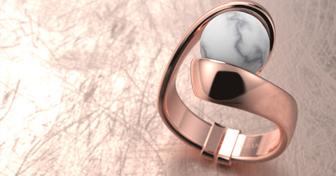 granelloso rose gold ring fluttua with marble stone