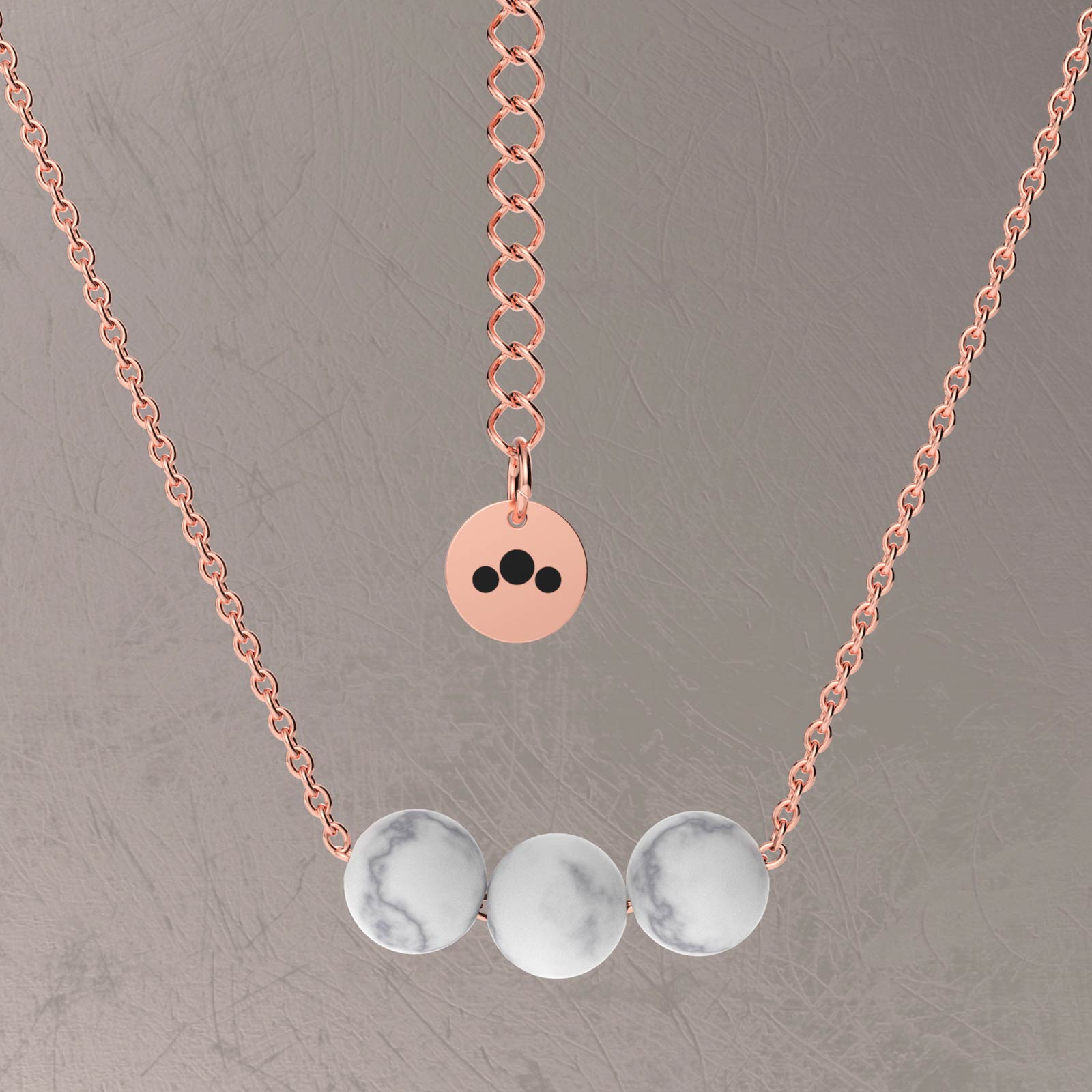triton rose gold necklace marble stone granelloso