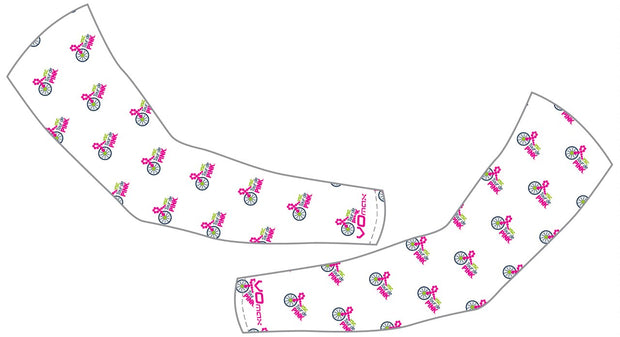 YSC Tour de Pink Arm Warmers-White